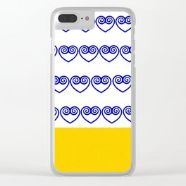 Blue Hmong heart and yellow bottom Clear iPhone Case
