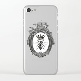 Queen Bee | Vintage Bee with Crown | Black, White and Grey | Clear iPhone Case