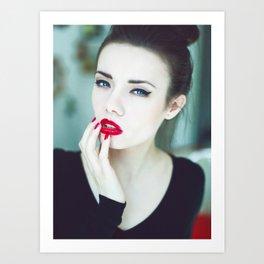 young pretty woman portrait Art Print