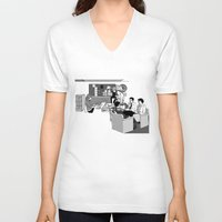 the office V-neck T-shirts featuring OFFICE MEETING by Sofia Youshi