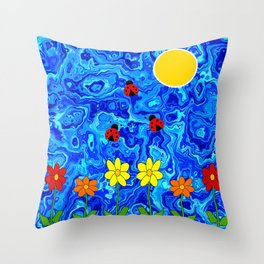 Blue Sky Summers Day Throw Pillow