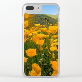 Wide angle view of orange poppies at Walker Canyon in Southern California during the super bloom Clear iPhone Case