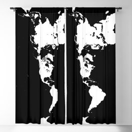 Dymaxion World Map (Fuller Projection Map) - Minimalist White on Black Blackout Curtain