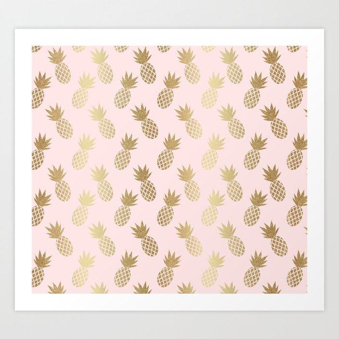 Pink & Gold Pineapples Pattern Kunstdrucke
