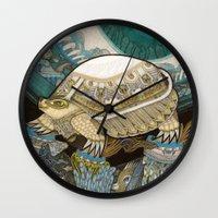 turtle Wall Clocks featuring Turtle by Yuliya