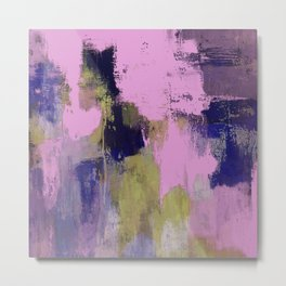 Wild Lilac - Abstract, textured, lilac, purple, blue and yellow oil painted artwork Metal Print