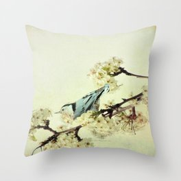 Nuthatch Bird Spring Flower Farmhouse Art Country Home Decor  A131 Throw Pillow