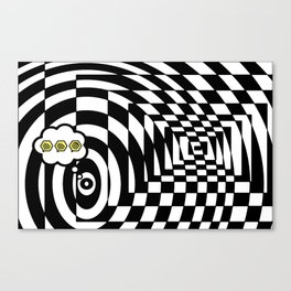 optical visual illusion thinking cloud of black and white chess board tunnel op art  Canvas Print