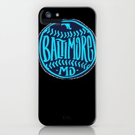 Hand Drawn Baseball for Baltimore with custom Lettering iPhone Case