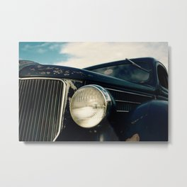Close-up Photo of a Vintage Car Headlight and Grill Metal Print