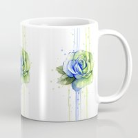 seahawks Mugs featuring Seattle 12th Man Seahawks Rose Watercolor Painting Art by Olechka