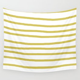 Simply Drawn Stripes Mod Yellow on White Wall Tapestry