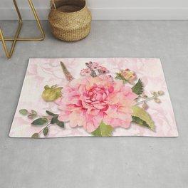 Pink Watercolor Dahlia Blossom Rug