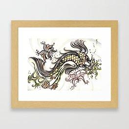 Koi Rain Framed Art Print