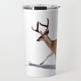 The Buck in Snow (Color) Travel Mug