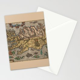 Antique Map Of Iceland 1603 Stationery Cards