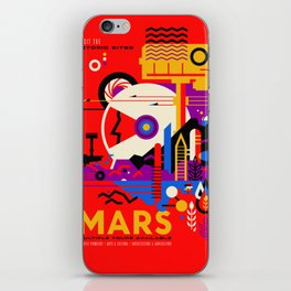 NASA Mars The Red Planet Retro Poster Futuristic Best Quality iPhone Skin