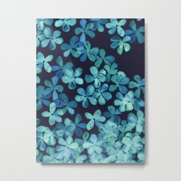 Hand Painted Floral Pattern in Teal & Navy Blue Metal Print