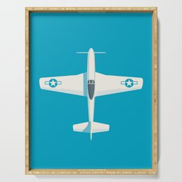 P51 Mustang Fighter Aircraft - Cyan Serving Tray