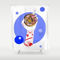 the moon Shower Curtains featuring Moon by scoobtoobins