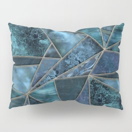 Stained Glass Style Gemstone Marble Blue Green Pillow Sham