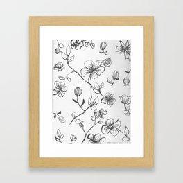 Black and White blooms Framed Art Print