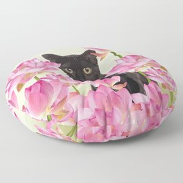Lotus Flower Blossoms Black Cat Floor Pillow