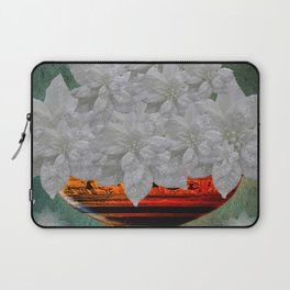 WHITE POINSETTIAS IN A BOWL Laptop Sleeve