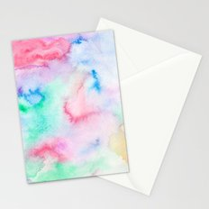 Bright abstract pink blue hand painted watercolor Stationery Cards