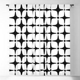 Mid Century Modern Star Pattern Black and White Blackout Curtain