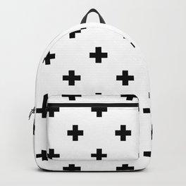 Swiss cross pattern in black Backpack