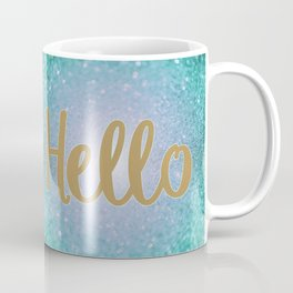 Hello Gold Aqua Blue Glitter Coffee Mug