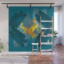 Panther Jungle Hideout Teal Wall Mural