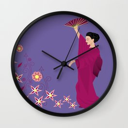 Beautiful woman in kimono Wall Clock