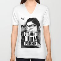 wiz khalifa V-neck T-shirts featuring Mia Khalifa straight outta pornhub by MartiniWithATwist