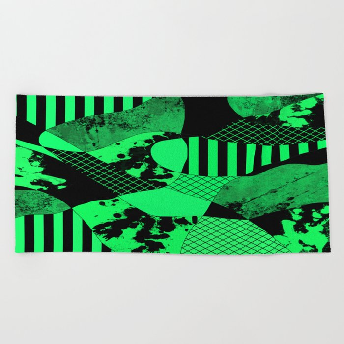 Black And Teal - Abstract, geometric, multi patterned artwork Beach Towel