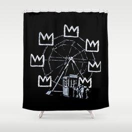 Banksy - Ferris Wheel - Tribute To JMBasquiat Artwork Shower Curtain