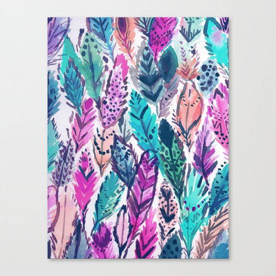 WILD FEATHERS Boho Watercolor Canvas Print