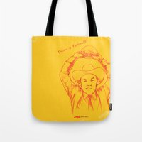 anchorman Tote Bags featuring Anchorman: Dreams of Fantana!!! by Red Misery
