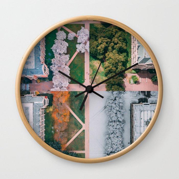 UW Cherry Blossoms: 4 Seasons Wall Clock