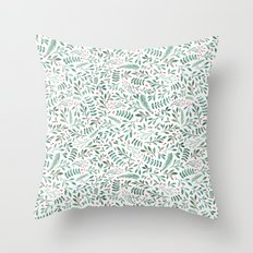 Green Leaves and Red Berries. Throw Pillow