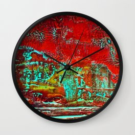Aztec Fossil Painting Series Wall Clock