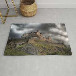 Rain Clouds Over Edinburgh Castle Rug