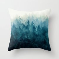 blue Throw Pillows featuring The Heart Of My Heart // So Far From Home Edit by Tordis Kayma