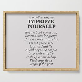 Improve yourself, motivational list for good habits, workout, daily routine, set life goals Serving Tray