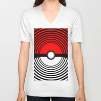 pokeball V-neck T-shirts featuring A Pokeball Within a Pokeball by The Fictional Seviper