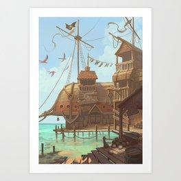 The Sand Bar, a pirate paradise Art Print