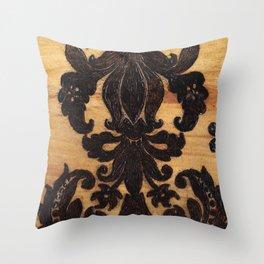 Wood Burnt Damask Throw Pillow