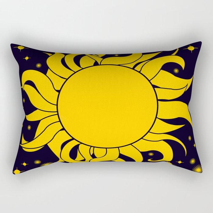 Bold Yellow Sun & Stars On Dark Blue Rectangular Pillow