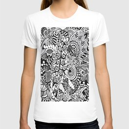 Mushroom madness black and white T-shirt